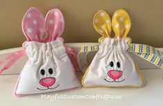 "2 Adorable Bunny Pouches, one pink and one yellow with drawstring closure Great for small treat bags:) Measures 4"" Wide by 4"" Tall"