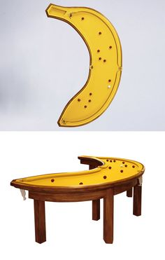 A banana-shaped pool table. Should be great fun to play on! Crazy bank shots!