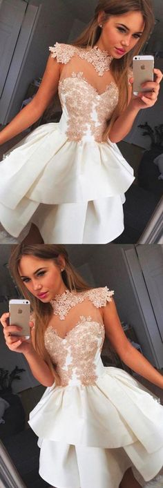 White Homecoming Dresses, Sexy Homecoming Dress Short, Princess Sleeveless Wrapped Chest Homecoming Dress, Appliques Satin Ball Gown Short Prom Dress