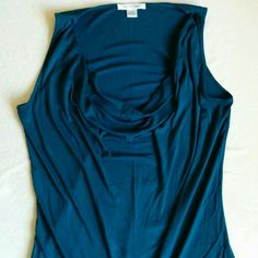 August Silk Drape/Cowl Neck Sleeveless Tank sz L Dark teal top with draping neckline. Size L. Loved, but still in good condition. My side has changed and it's too big for me, now. Color is most accurate in 1st two pics. august silk Tops Tank Tops