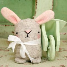 Cute oatmeal colour wool felt Easter bunny rabbit £12.00