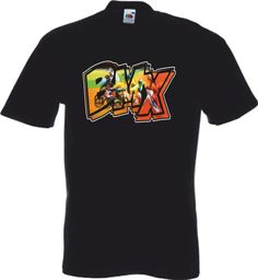 Mens Black T Shirt -BMX Race Blur Logo Retro Biker