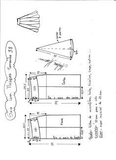 Esquema de modelagem de saia com nesgas e cós anatômico tamanho 38.