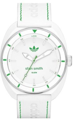 adidas Originals 'Stan Smith' Leather Strap Watch, 42mm