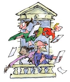 """Quentin the Campaign for Drawing's """"Amazing Space"""" was held at Somerset House - the inspiration for the balcony in this logo Quentin Blake Illustrations, Art Assignments, Powerpoint Presentations, Cartoon Characters, Fictional Characters, British Men, Roald Dahl, Somerset, Matilda"""