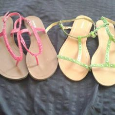 Studded Green and Braided Hot Pink Flat Sandals Two pairs of faux leather sandals, one a light olive with silver studs and one a hot pink braided style. The right pink sandal is damaged, pictured, but can be fixed with glue or by sewing. Because of the damage I'm pretty much including them for free. Isadora New York Shoes Sandals
