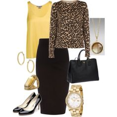black pencil skirt outfits | Leopard cardigan, yellow cami, black pencil skirt | Work outfits