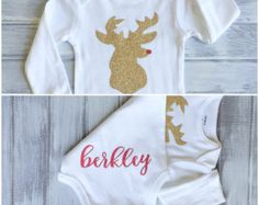 Baby Girl Gold Christmas Reindeer Monogrammed Personalized Bodysuit Gold Sparkly Glitter Rudolph Baby Girl 1st Christmas Outfit Name on Bum