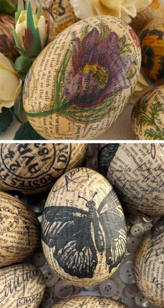 Stamped Newsprint Papier-mâché Easter Eggs