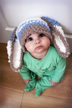 Adorable baby with long-eared hat
