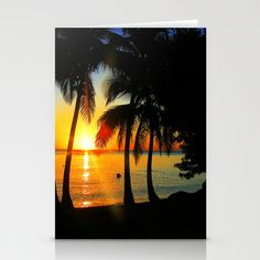 Sunset on Exotic Beach in Martinique Stationery Cards by Bluedarkat Lem - $12.00