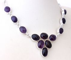 AWESOME PURPLE AMETHYST QUARTZ HOT NEW FASHION 925 STERLING SILVER NECKLACE T512 #925silverpalace #Charm
