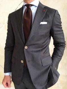 Grey Stripes Men's Suit Slim Fit 2 Piece Tuxedo Suit