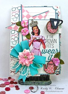 Authentique Fabulous Retro Style Birthday Card by Kathy Clement for Really Reasonable Ribbon Photo 1