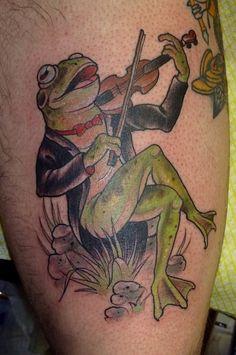 Fiddling frog tattoo by Ryan Mason