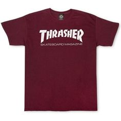 Thrasher Magazine Shop - Thrasher Skate Mag T-Shirt ❤ liked on Polyvore featuring tops, t-shirts, cotton t shirts, cotton logo t shirts, purple top, logo t shirts and cotton tee