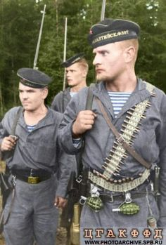 Soviet soldiers  (They look like sailors to me.)