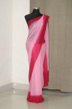 Georgette saree Sabyasachi Sarees, Indian Sarees, Lehenga Choli, Beautiful Saree, Beautiful Outfits, Shibori Sarees, Pure Georgette Sarees, Silk Sarees Online Shopping, Plain Saree