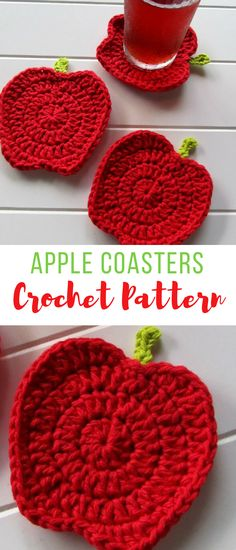 These crochet apple shaped coasters are as cute as a button! love them! makes me want to go apple picking. #crochet #crochetapple #crochetcoasters #crochetpatterns #crochetcoasterspatterns
