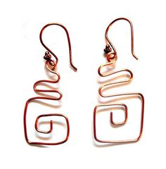 Copper Wire Square CurlyQue Earrings by whatsingramasdrawers, $15.00 #dteam