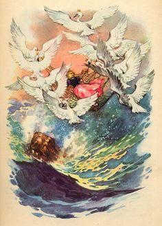 Ганс Христиан Андерсен - Дикие лебеди (иллюстрация Либико Марайа)Превратившись на восходе солнца в лебедей, братья схватили сетку клювами и взвились с милой, спавшей крепким сном, сестрицей к облакам