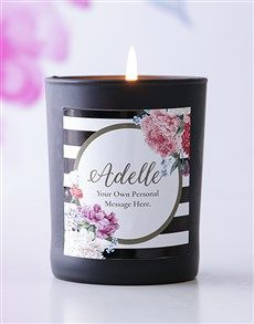 gifts: Personalised Black Name and Message Candle! Same Day Delivery Service, Candle Jars, Candles, Ladies Day, Messages, Gifts, Baptisms, Presents
