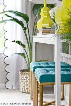 sarah m. dorsey designs: Spring Home Tour | DIY Scalloped Draperies