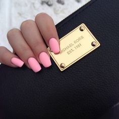 Nails. Pink. Matte nails. Pink nails. Fresh manicure. Micheal Kors.