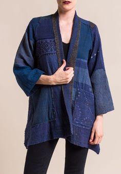 Mieko Mintz Indigo Frayed Patch A-Line Jacket Altered Couture, Kimono Jacket, Line Jackets, Long Blouse, Types Of Sleeves, Boho Fashion, Fashion Art, Mantel, Designer
