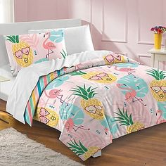Dream Factory Pineapple Twin Comforter Set at Lowe's. Create a fun and playful tropical look with this Dream Factory Pineapple comforter set. In pink. Toddler Comforter Sets, Kids Comforters, Full Comforter Sets, Bedding Sets, Grey Comforter, Comforter Cover, Cute Bedding, Teen Bedding, Unique Bedding