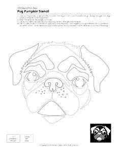 Pug pumpkin stencil