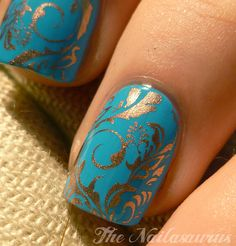 Plate: Bundle Monster BM21  +    Base Colour: Barry M Cyan Blue  +  Stamp Colour: Sally Hansen Amber Chrome  +  Top Coat of NYC