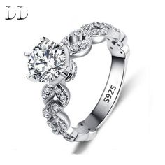 Hot sale fashion jewelry Wedding engagement rings for women White Gold plated AAA Zircon cz Diamond Jewelry luxury bague DD097 [Affiliate]