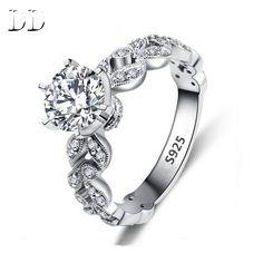 1.5 캐럿 AAA CZ 다이아몬드 보석 웨딩 약혼 반지 여성 빈티지 화이트 585 골드 도금 크리스탈 bague 잎 DD097