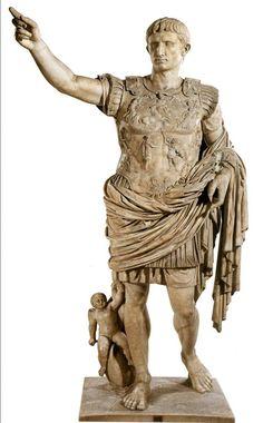 ROMAN AND ETRUSCAN #3 - Augustus of Primaporta/ Ancient Roman/ Early 1st century/ Marble/ found at Villa of Livia, Primaporta/ currently in Musei Vaticani, Braccio Nuovo, Rome/