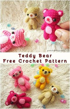 Crochet Teddy Bear Keychain Teddy Bear Amigurumi - The Free Crochet Pattern Hello, today we present you the little perfect done pattern for Teddies. Everybody who loves this kind of project will be Crochet Teddy Bear Pattern, Crochet Amigurumi Free Patterns, Crochet Animal Patterns, Crochet Dolls, Crochet Animals, Teddy Bear Patterns, Crochet Keyring Free Pattern, Crochet Appliques, Crochet Birds