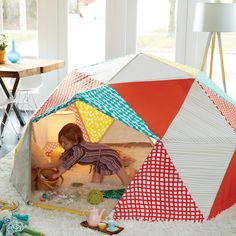 Geodesic Playhouse | Features a unique dome shape and exclusive prints designed by Lotta Jansdotter. The ample space means there's plenty of room to invite a friend or two.