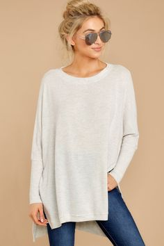 87b131f08eb47 Cozy Heather Grey Pullover - Soft Lightweight Sweatshirt - Top -  44 – Red  Dress Grey