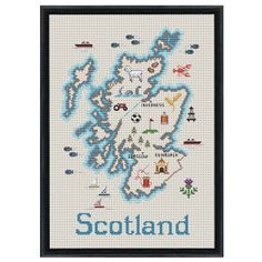 Scotland Map Counted Cross Stitch Kit - Cross Stitch, Needlepoint, Embroidery Kits – Tools and Supplies