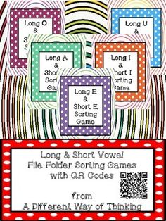 Long and Short Vowel File Folder Sorting Game with QR Codes! This packet has 5 different file folder games (one for each vowel!) for students to practice both phonic and phonemic skills while also integrating technology. Short Vowel Games, Sorting Games, Short Vowel Sounds, File Folder Games, Short Vowels, Phonemic Awareness, Dyslexia, Qr Codes, Teacher Newsletter