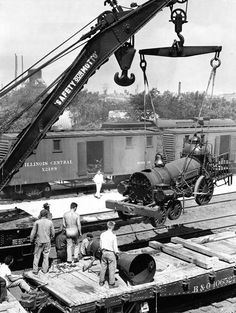 Baltimore and Ohio locomotive Lafayette build in 1837 is being unloaded for display at the Chicago Railroad Fair in 1948. — Chicago Tribune photo