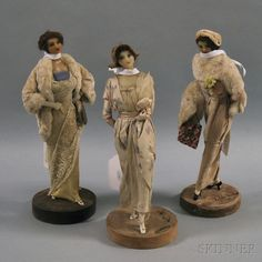 * Three Lafitte-Desirat Wax Fashion Dolls, France, c. 1912-1913, the standing figures with molded wax heads and necks and model fashions and accessories from summer and winter, 1212-1913,