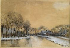 Jan Hillebrand Wijsmuller (1855-1925). A winter landscape with houses along a canal