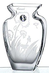 06301d90fff Thick Hand Blown Glass Vase with Sparkling Swarovski Crystal & Engraved  Meadow Flowers - Clear - 19 cm: Amazon.co.uk: Kitchen & Home