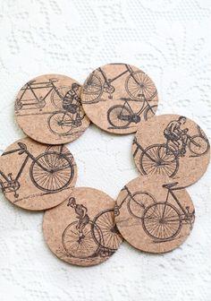 Bike Ride Cork Coaster Set