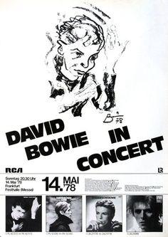 David Bowie - Heroes 1978 - Poster Plakat Konzertposter
