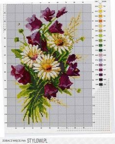 Znalezione obrazy dla zapytania flower for embroidery cross stitch Free Cross Stitch Charts, Cross Stitch Love, Beaded Cross Stitch, Cross Stitch Flowers, Cross Stitch Kits, Counted Cross Stitch Patterns, Cross Stitch Designs, Cross Stitch Embroidery, Mosaic Flowers