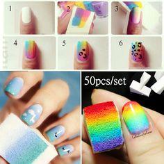 10pcs Gradient Nail Sponges for Color Fade Manicure DIY Nail Tool Nail Sponge