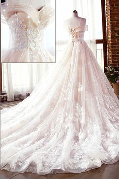 Fascinating Tulle & Lace Off-the-shoulder Neckline A-line Wedding Dresses With L. - Fascinating Tulle & Lace Off-the-shoulder Neckline A-line Wedding Dresses With Lace Appliques & Beadings Source by - Black Wedding Guest Dresses, Diy Wedding Dress, Princess Wedding Dresses, Dream Wedding Dresses, Tulle Wedding, Wedding Black, Colorful Wedding Dresses, Ballgown Wedding Dress, Pink Wedding Gowns