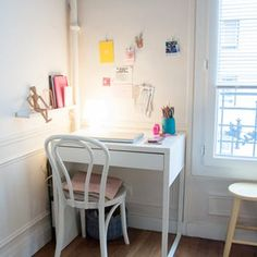 A Small Paris Apartment Is Pretty Pastel Perfection Home Office Space, Home Office Design, Home Office Decor, Home Decor, Small Study Desk, Desks For Small Spaces, Ikea Small Desk, Small Kids Desk, Study Room Decor